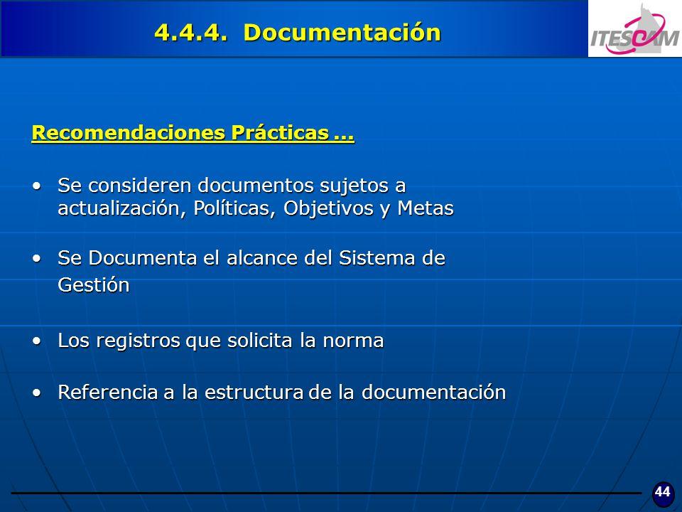 4.4.4. Documentación Recomendaciones Prácticas ...