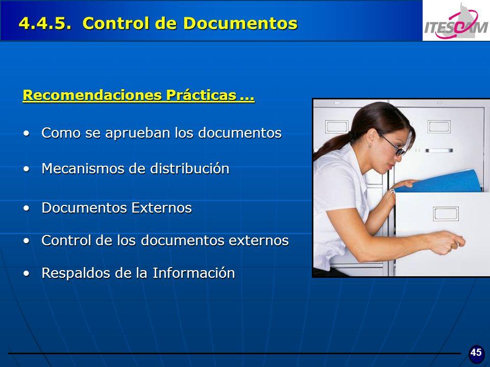 4.4.5. Control de Documentos Recomendaciones Prácticas ...