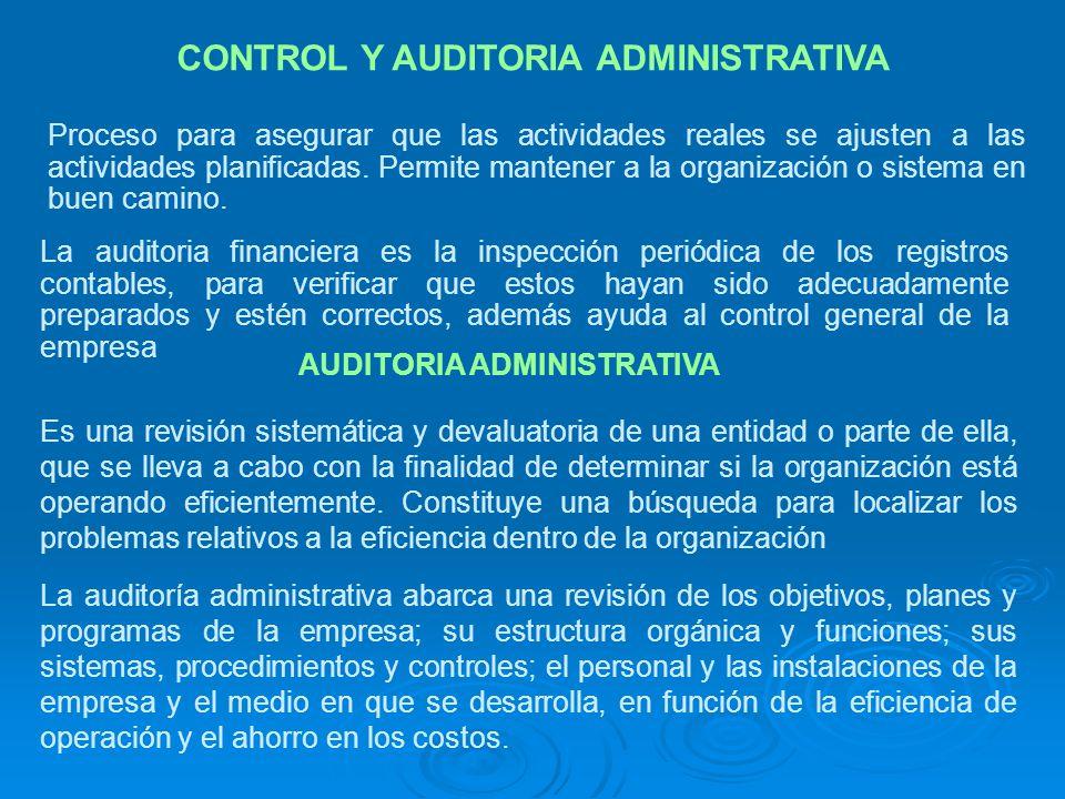 CONTROL Y AUDITORIA ADMINISTRATIVA
