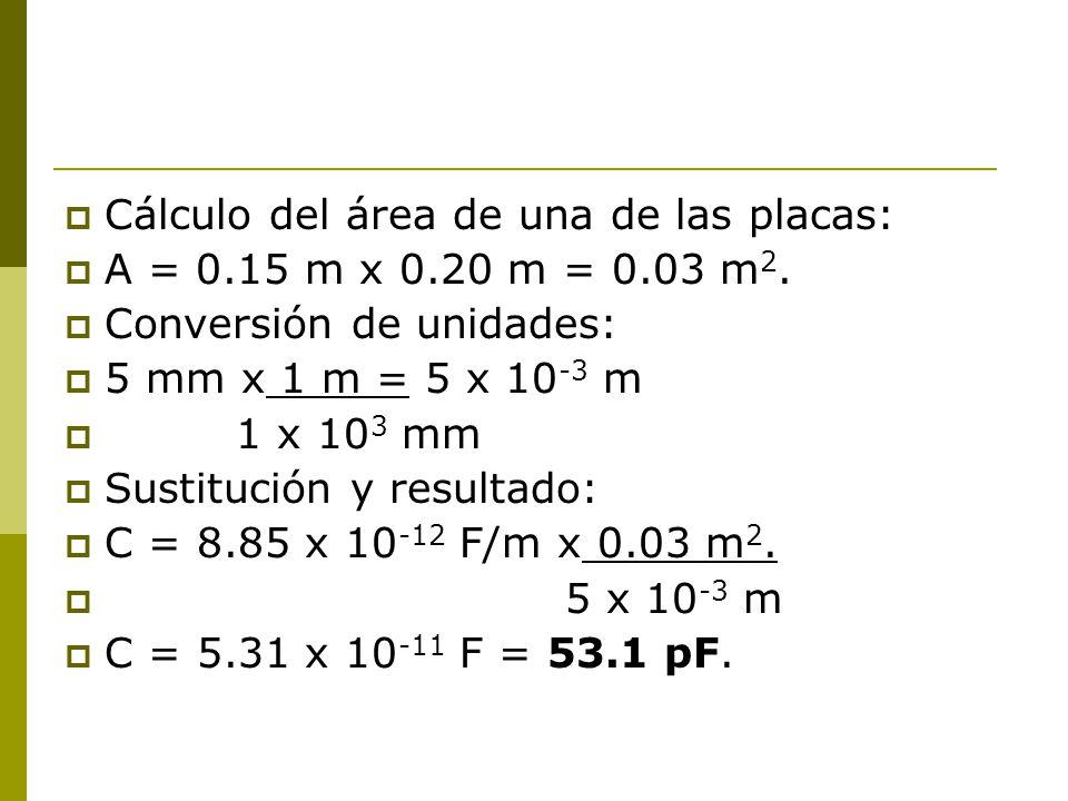 Cálculo del área de una de las placas: