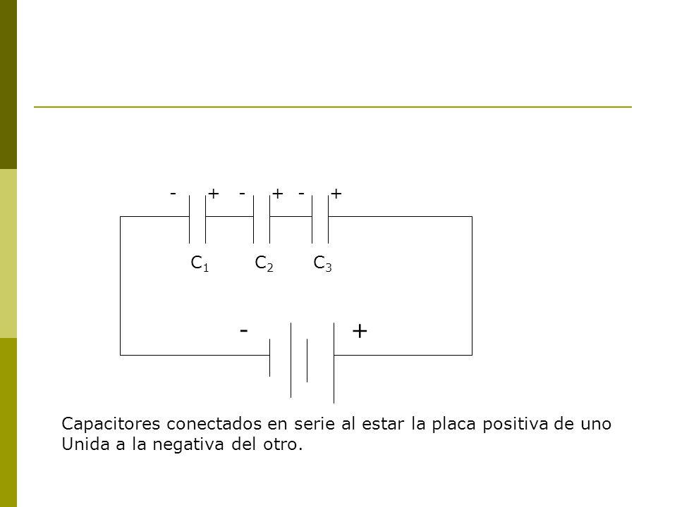 - + - + - + C1. C2. C3. - + Capacitores conectados en serie al estar la placa positiva de uno.