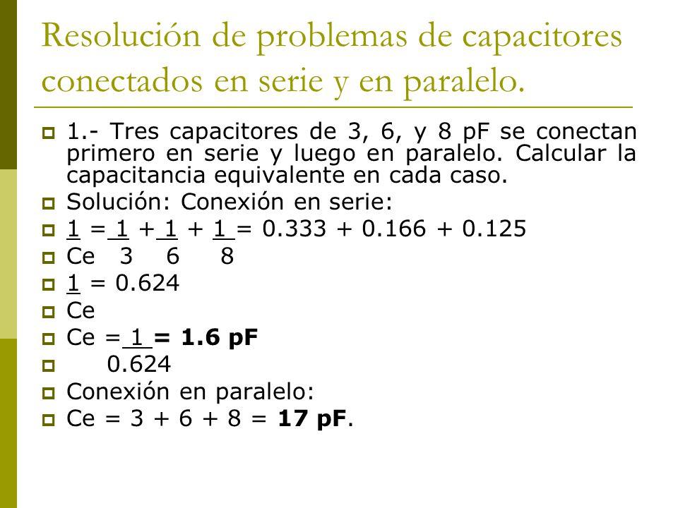 Resolución de problemas de capacitores conectados en serie y en paralelo.