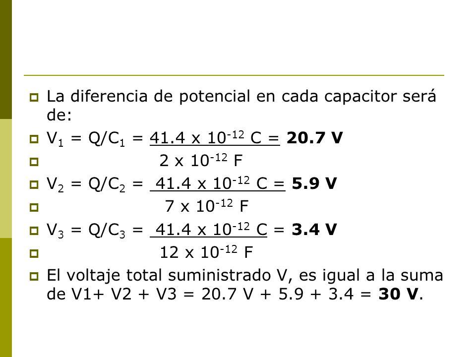 La diferencia de potencial en cada capacitor será de: