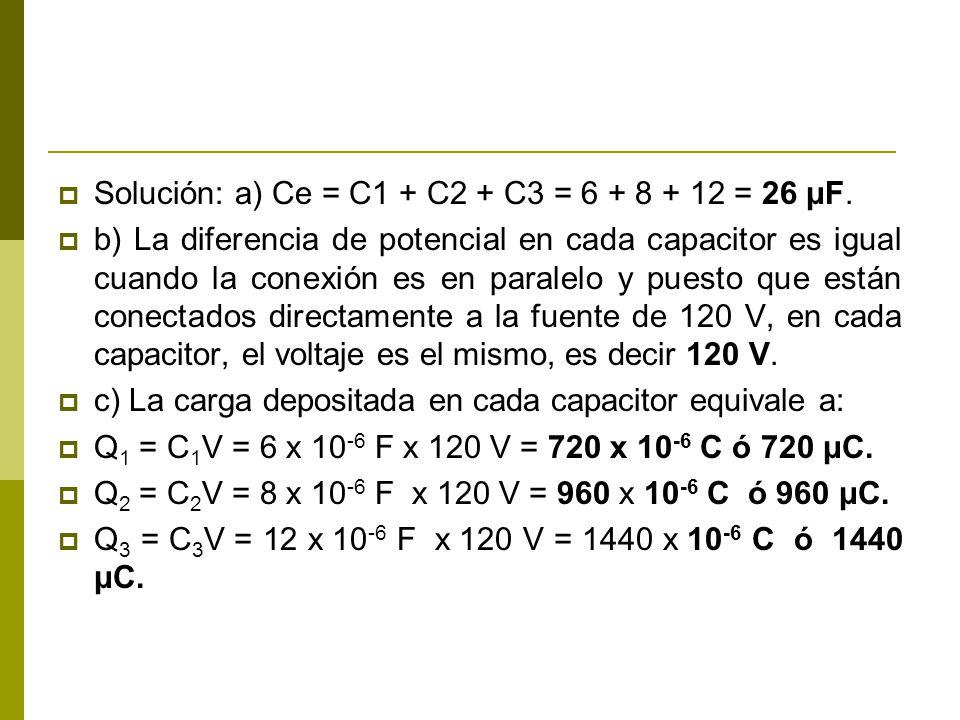 Solución: a) Ce = C1 + C2 + C3 = 6 + 8 + 12 = 26 μF.