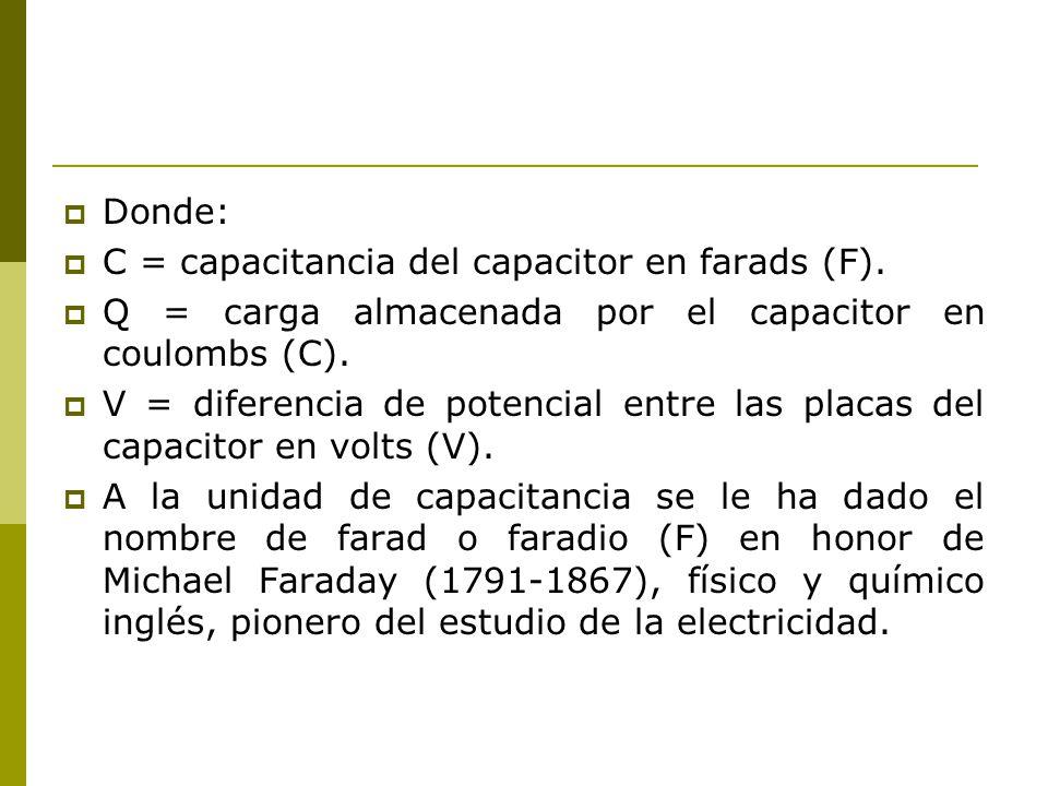 Donde: C = capacitancia del capacitor en farads (F). Q = carga almacenada por el capacitor en coulombs (C).