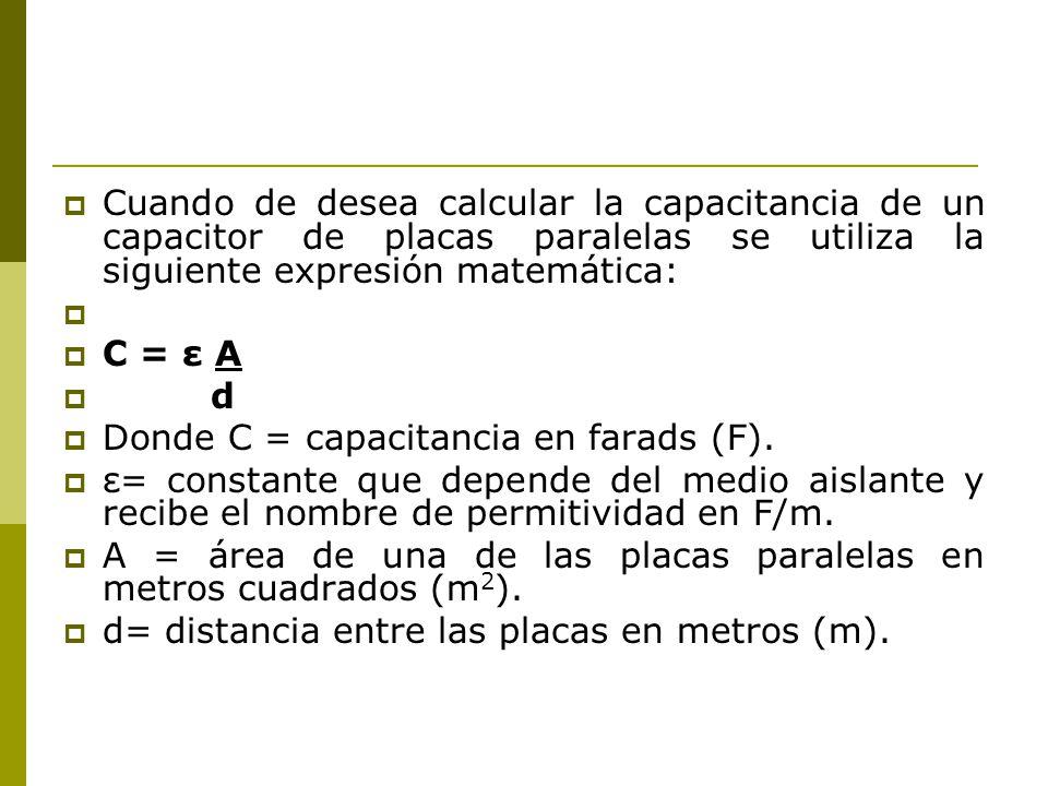 Cuando de desea calcular la capacitancia de un capacitor de placas paralelas se utiliza la siguiente expresión matemática: