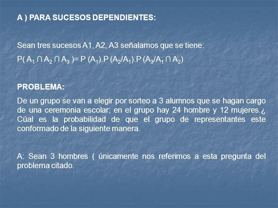 A ) PARA SUCESOS DEPENDIENTES: