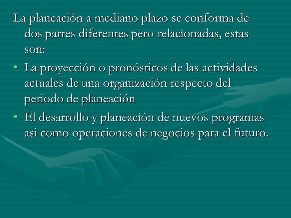 La planeación a mediano plazo se conforma de dos partes diferentes pero relacionadas, estas son: