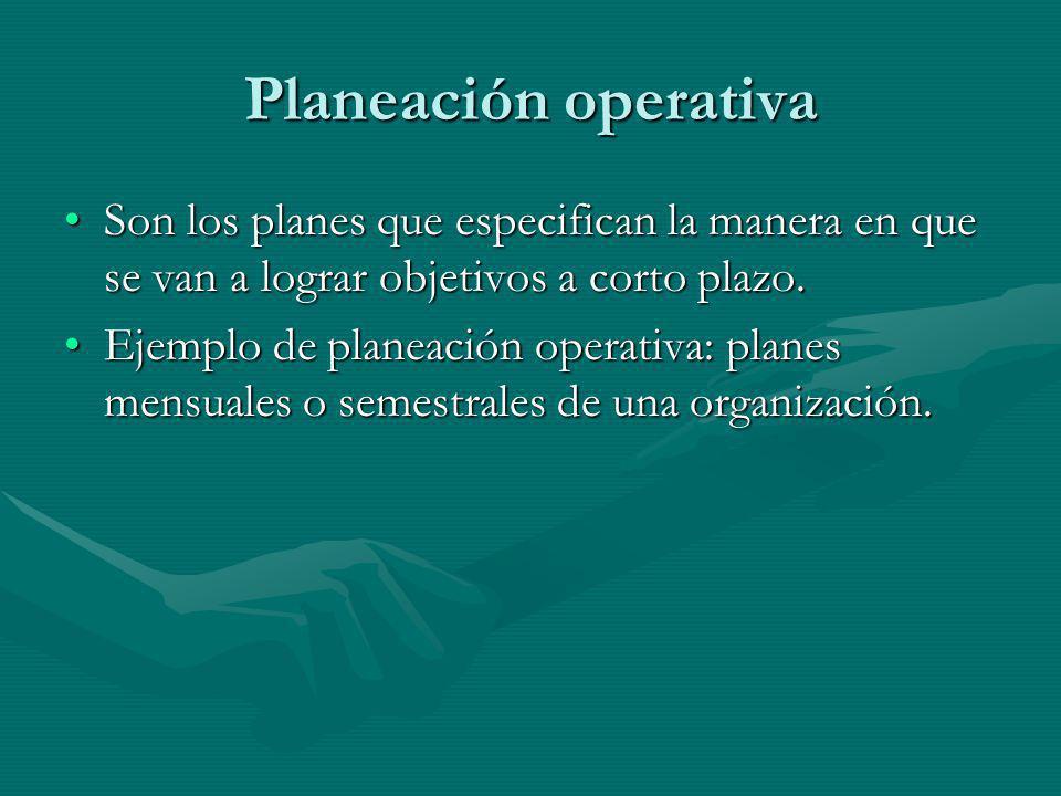 Planeación operativa Son los planes que especifican la manera en que se van a lograr objetivos a corto plazo.