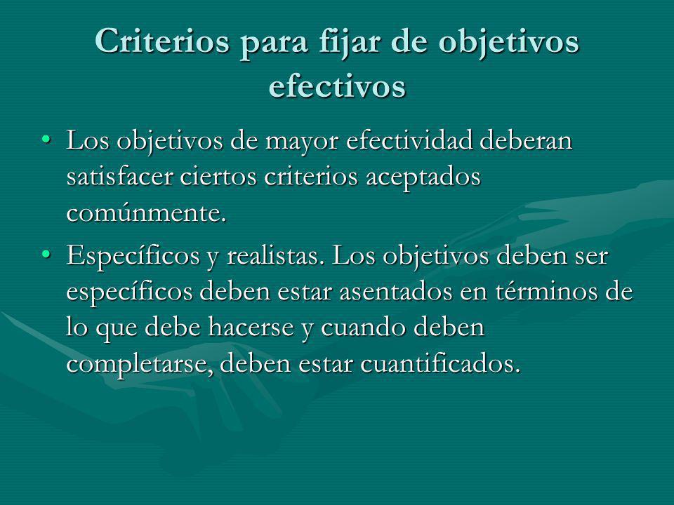 Criterios para fijar de objetivos efectivos
