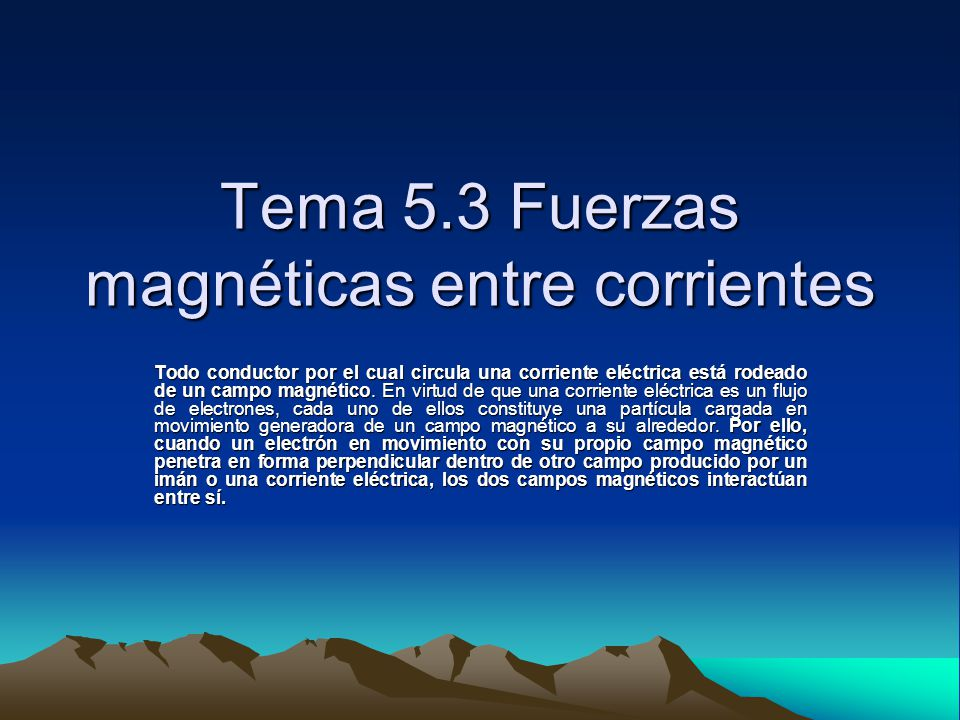 Tema 5.3 Fuerzas magnéticas entre corrientes