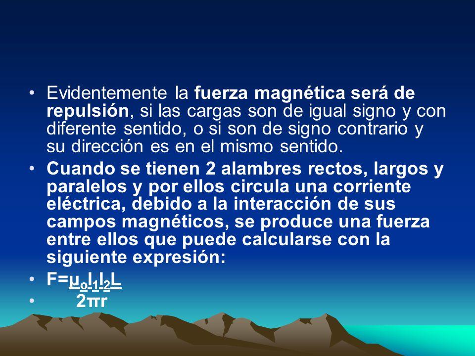 Evidentemente la fuerza magnética será de repulsión, si las cargas son de igual signo y con diferente sentido, o si son de signo contrario y su dirección es en el mismo sentido.
