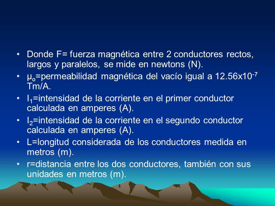 Donde F= fuerza magnética entre 2 conductores rectos, largos y paralelos, se mide en newtons (N).