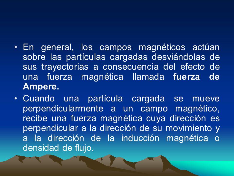 En general, los campos magnéticos actúan sobre las partículas cargadas desviándolas de sus trayectorias a consecuencia del efecto de una fuerza magnética llamada fuerza de Ampere.