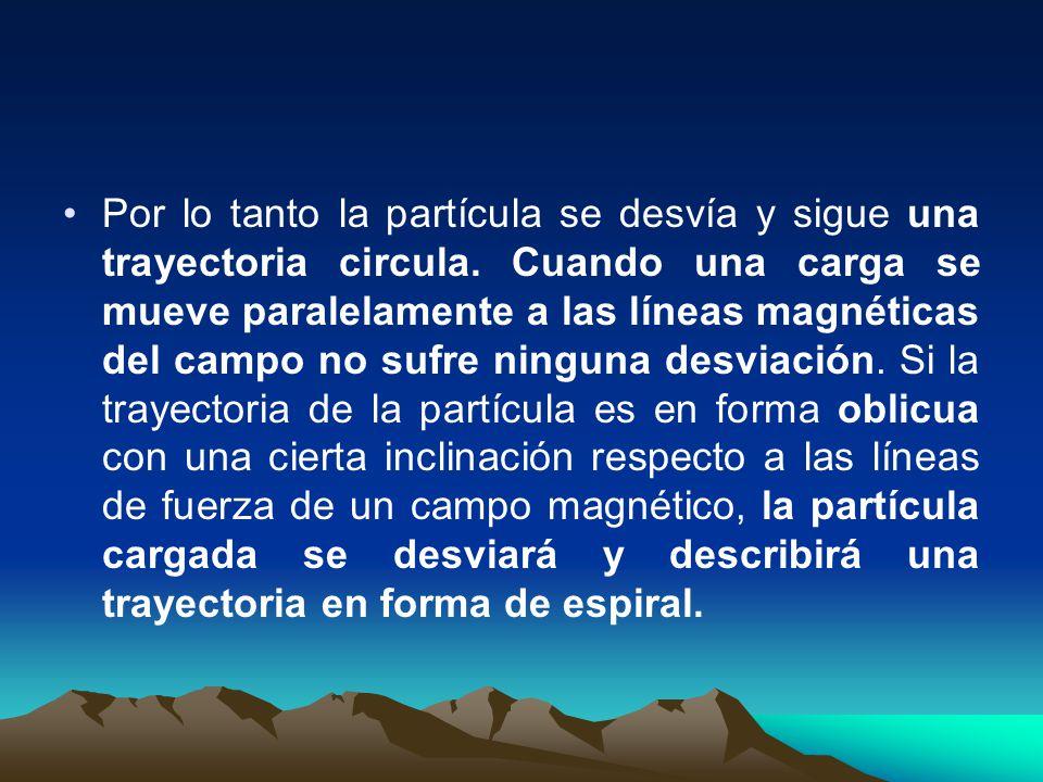 Por lo tanto la partícula se desvía y sigue una trayectoria circula