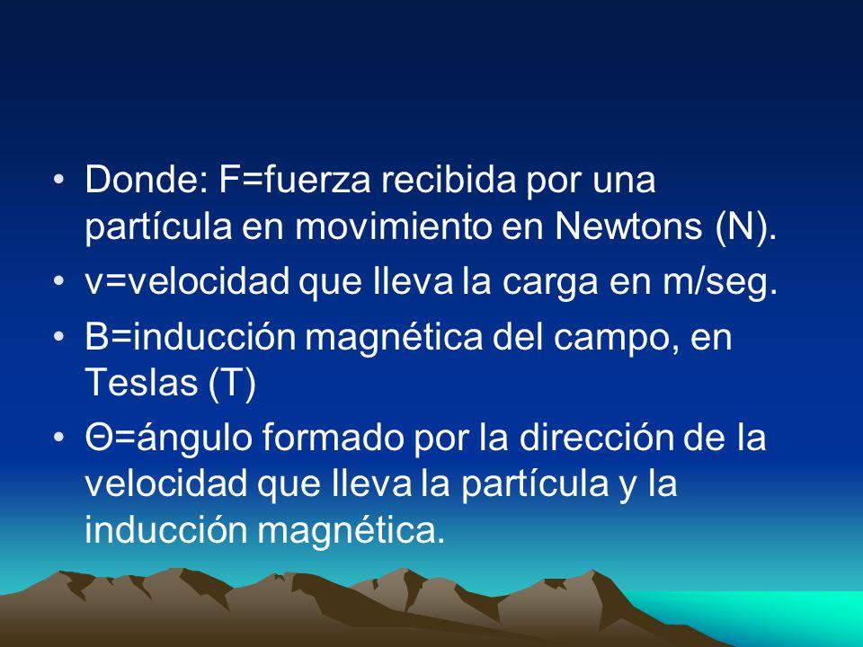 Donde: F=fuerza recibida por una partícula en movimiento en Newtons (N).