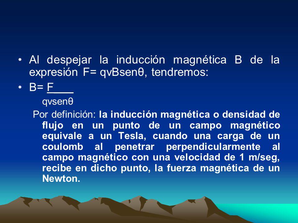 Al despejar la inducción magnética B de la expresión F= qvBsenθ, tendremos: