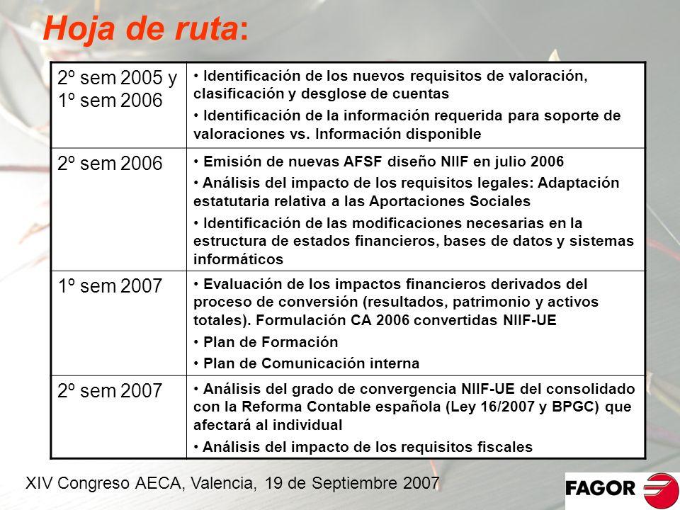 Hoja de ruta: 2º sem 2005 y 1º sem 2006 2º sem 2006 1º sem 2007