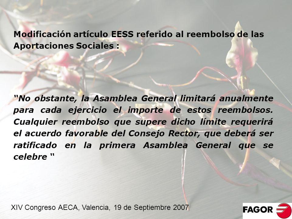 Modificación artículo EESS referido al reembolso de las Aportaciones Sociales :
