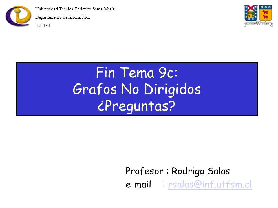 Fin Tema 9c: Grafos No Dirigidos ¿Preguntas