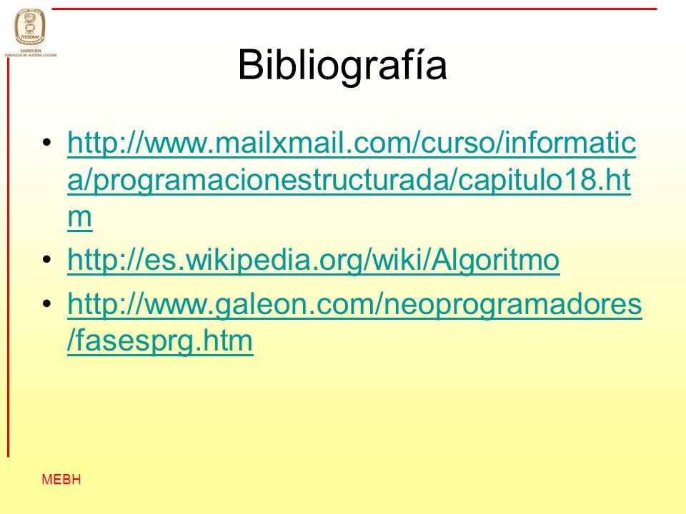 Bibliografía http://www.mailxmail.com/curso/informatica/programacionestructurada/capitulo18.htm. http://es.wikipedia.org/wiki/Algoritmo.