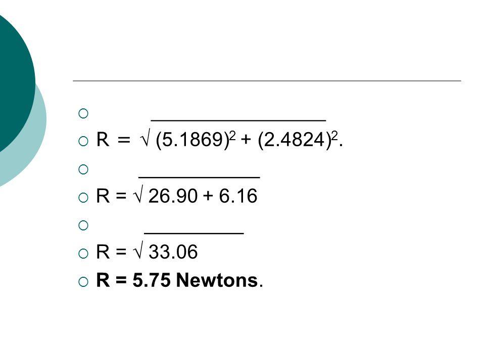 ______________ R = √ (5.1869)2 + (2.4824)2. ___________. R = √ 26.90 + 6.16. _________. R = √ 33.06.