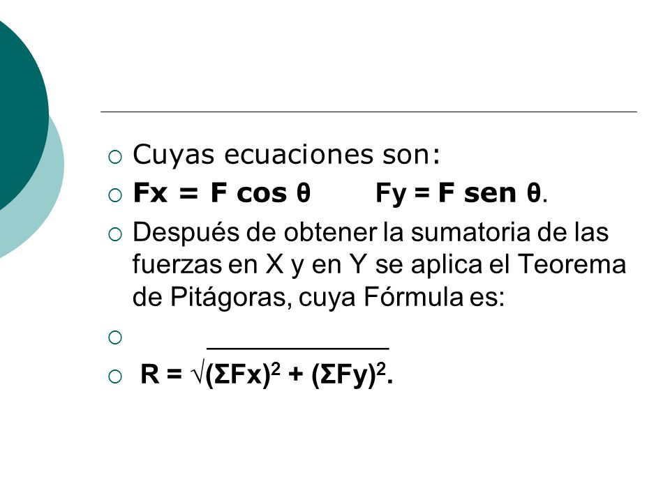 Cuyas ecuaciones son: Fx = F cos θ Fy = F sen θ.