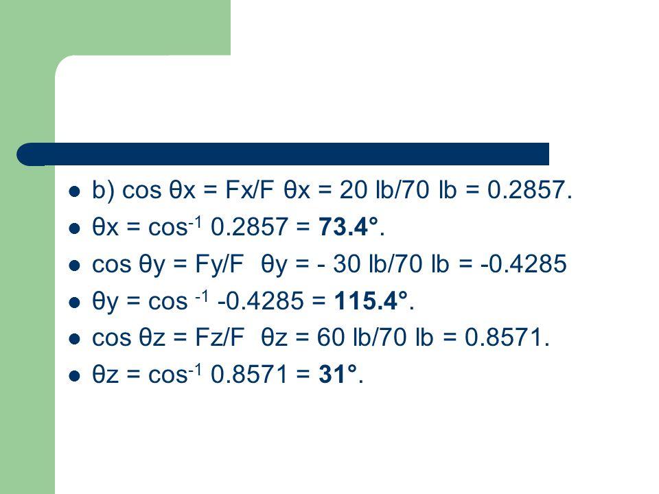 b) cos θx = Fx/F θx = 20 lb/70 lb = 0.2857.
