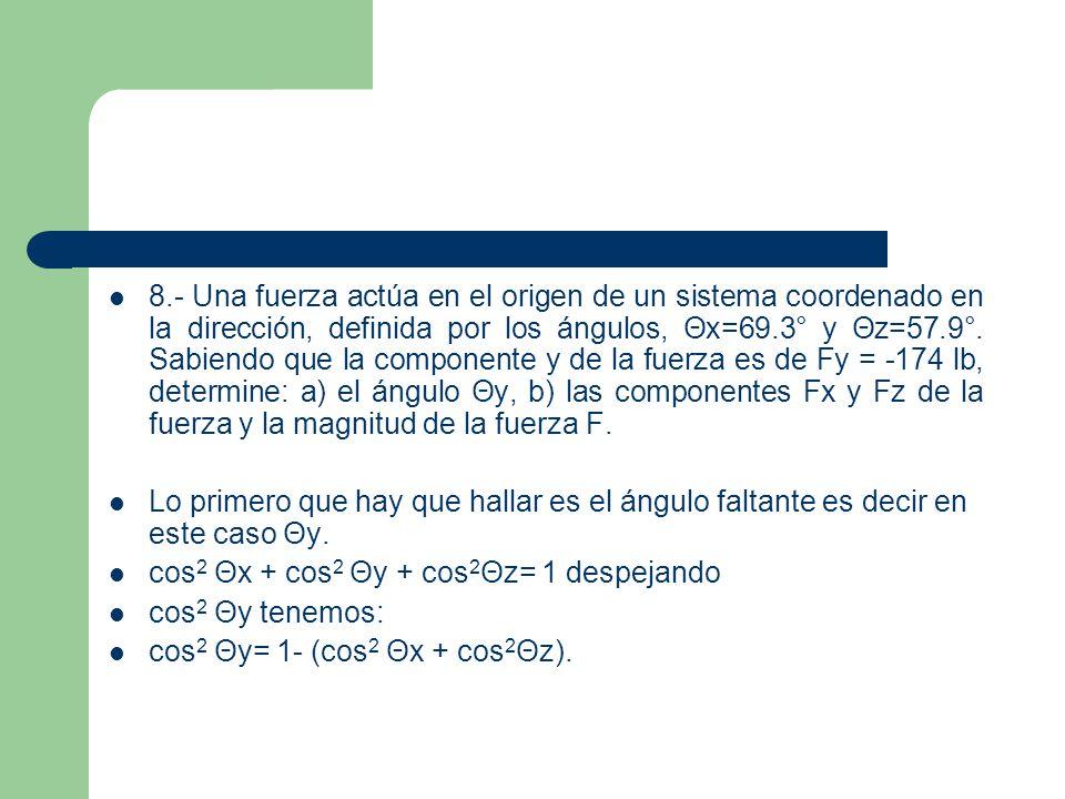 8.- Una fuerza actúa en el origen de un sistema coordenado en la dirección, definida por los ángulos, Θx=69.3° y Θz=57.9°. Sabiendo que la componente y de la fuerza es de Fy = -174 lb, determine: a) el ángulo Θy, b) las componentes Fx y Fz de la fuerza y la magnitud de la fuerza F.