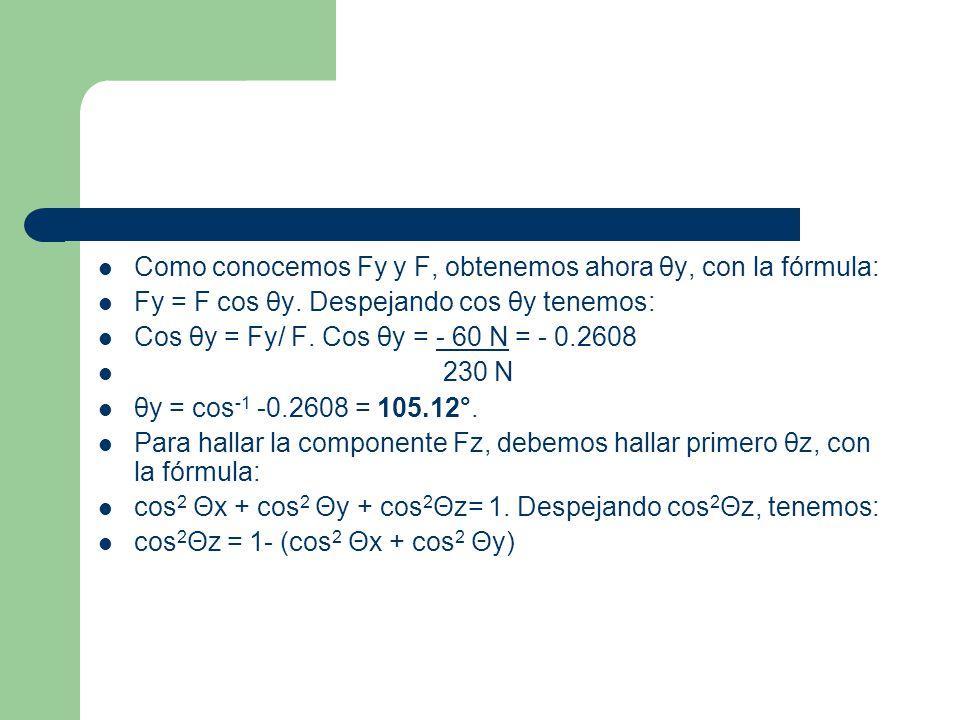 Como conocemos Fy y F, obtenemos ahora θy, con la fórmula: