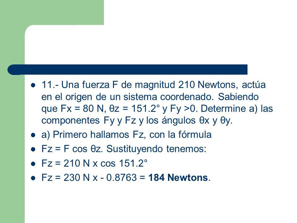 11.- Una fuerza F de magnitud 210 Newtons, actúa en el origen de un sistema coordenado. Sabiendo que Fx = 80 N, θz = 151.2° y Fy >0. Determine a) las componentes Fy y Fz y los ángulos θx y θy.