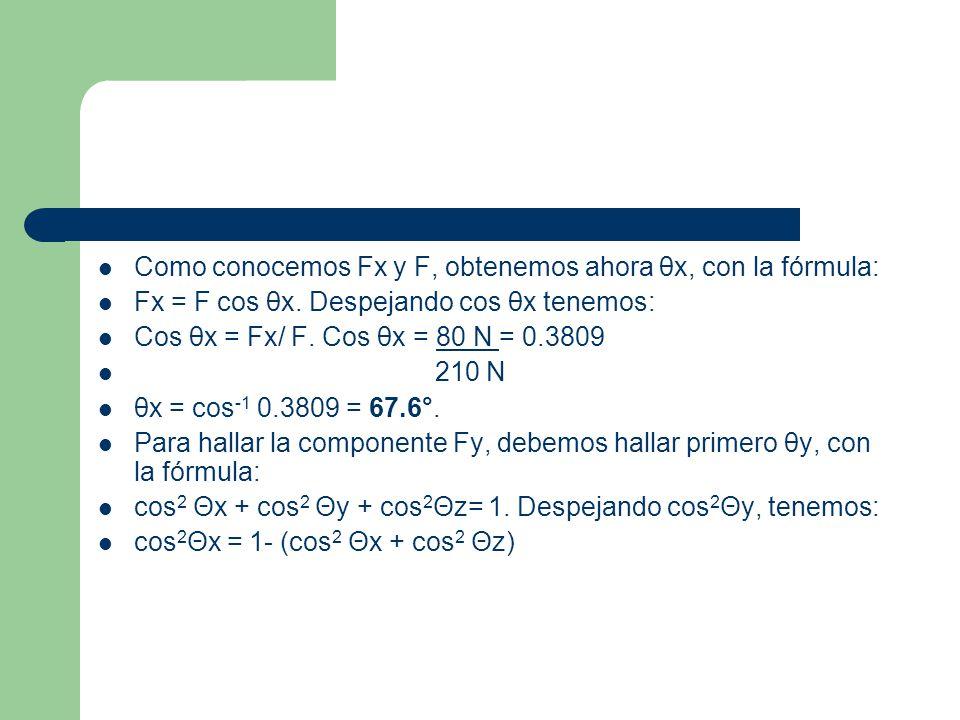 Como conocemos Fx y F, obtenemos ahora θx, con la fórmula: