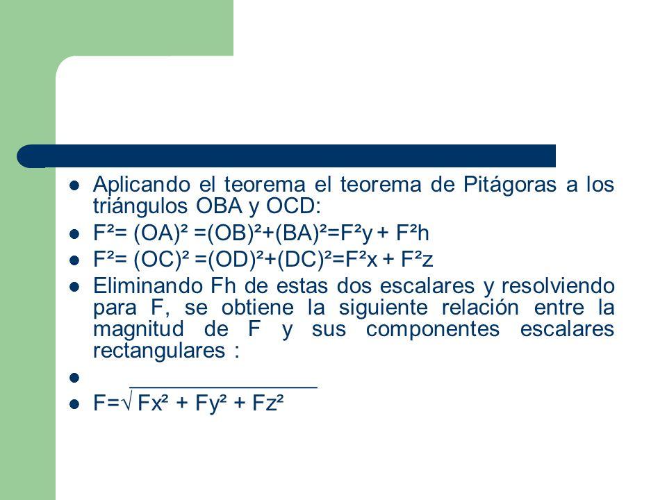 Aplicando el teorema el teorema de Pitágoras a los triángulos OBA y OCD: