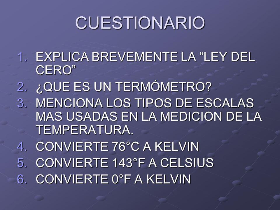 CUESTIONARIO EXPLICA BREVEMENTE LA LEY DEL CERO