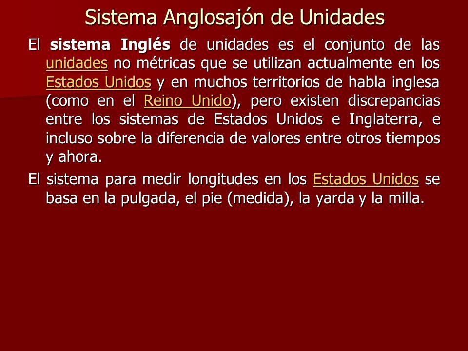 Sistema Anglosajón de Unidades