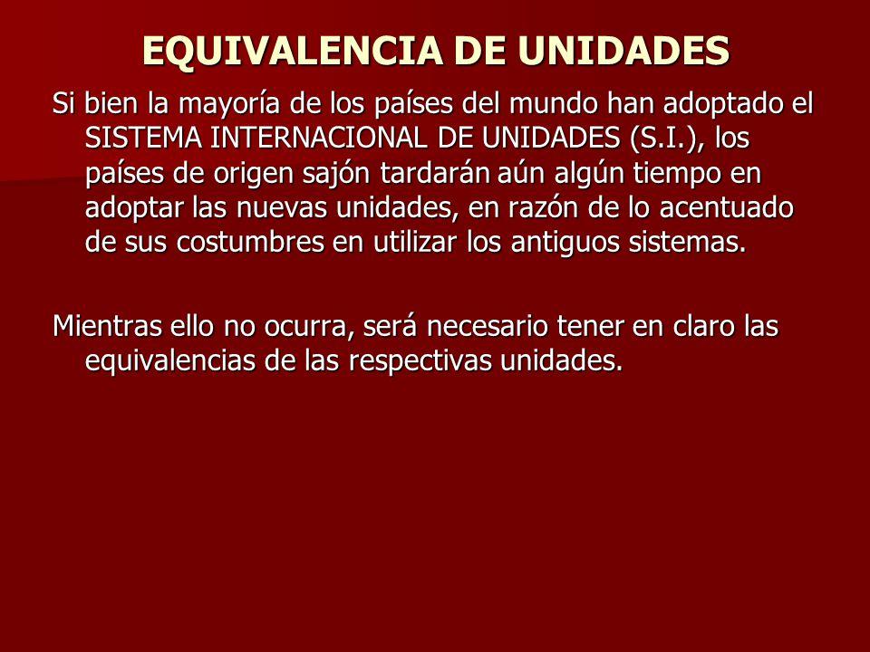 EQUIVALENCIA DE UNIDADES