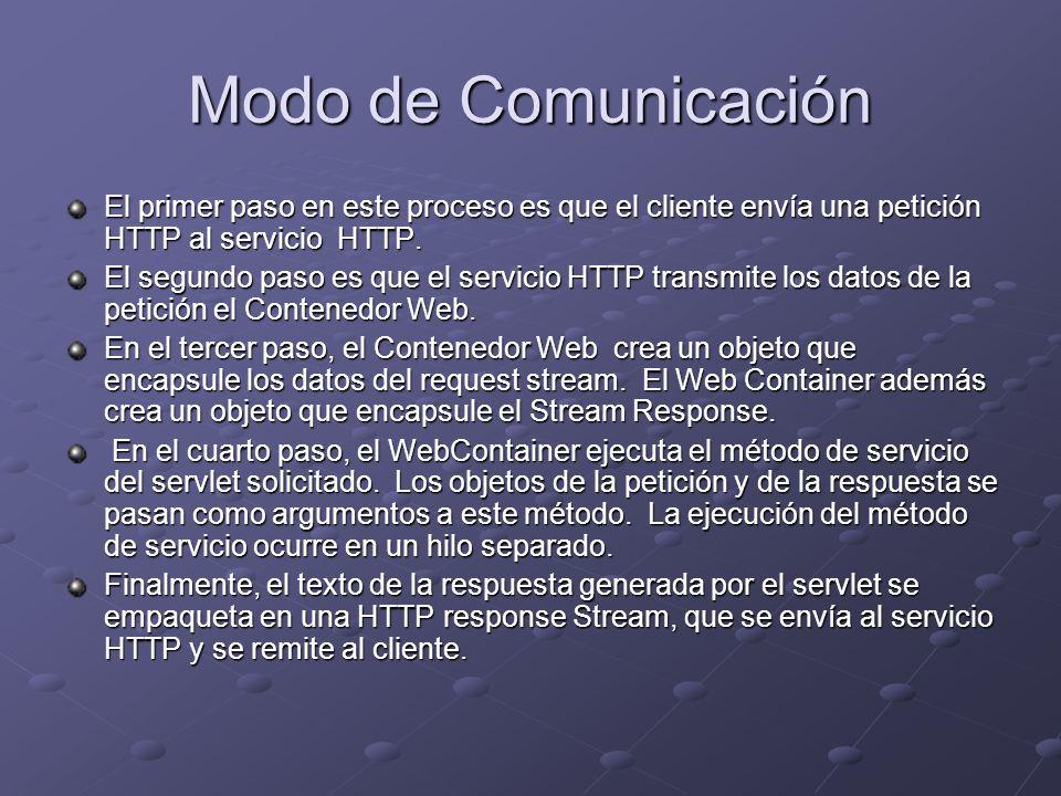 Modo de Comunicación El primer paso en este proceso es que el cliente envía una petición HTTP al servicio HTTP.