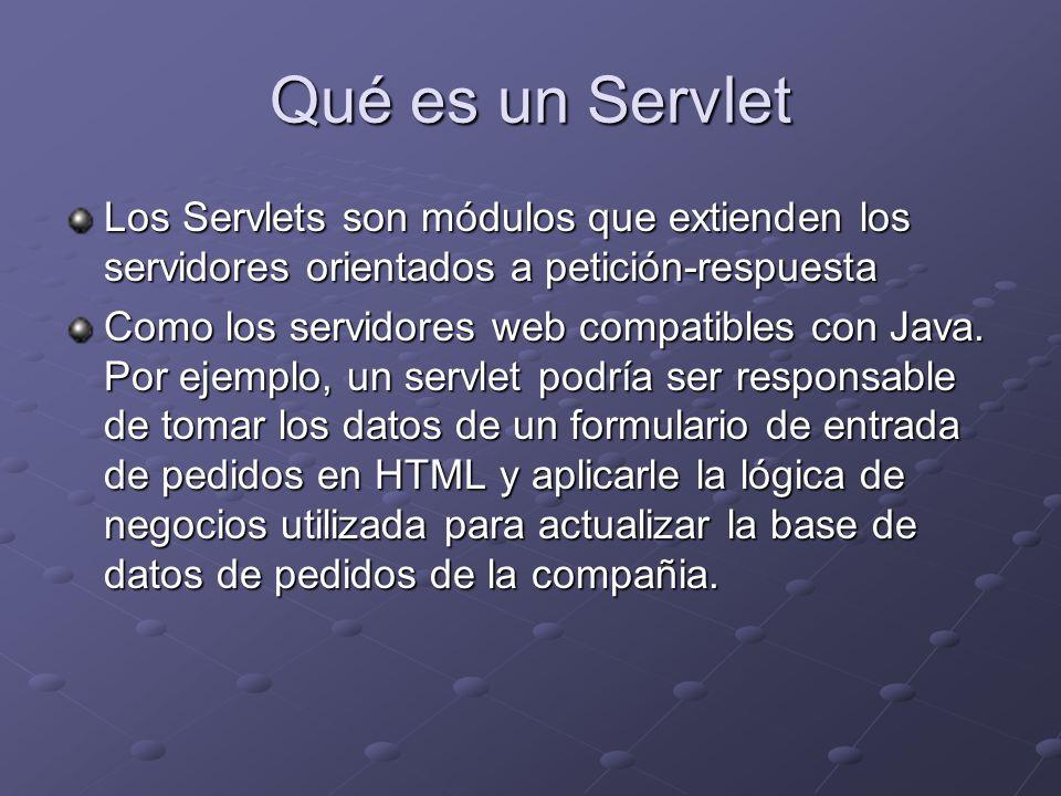 Qué es un Servlet Los Servlets son módulos que extienden los servidores orientados a petición-respuesta.