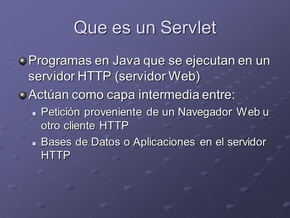 Que es un Servlet Programas en Java que se ejecutan en un servidor HTTP (servidor Web) Actúan como capa intermedia entre: