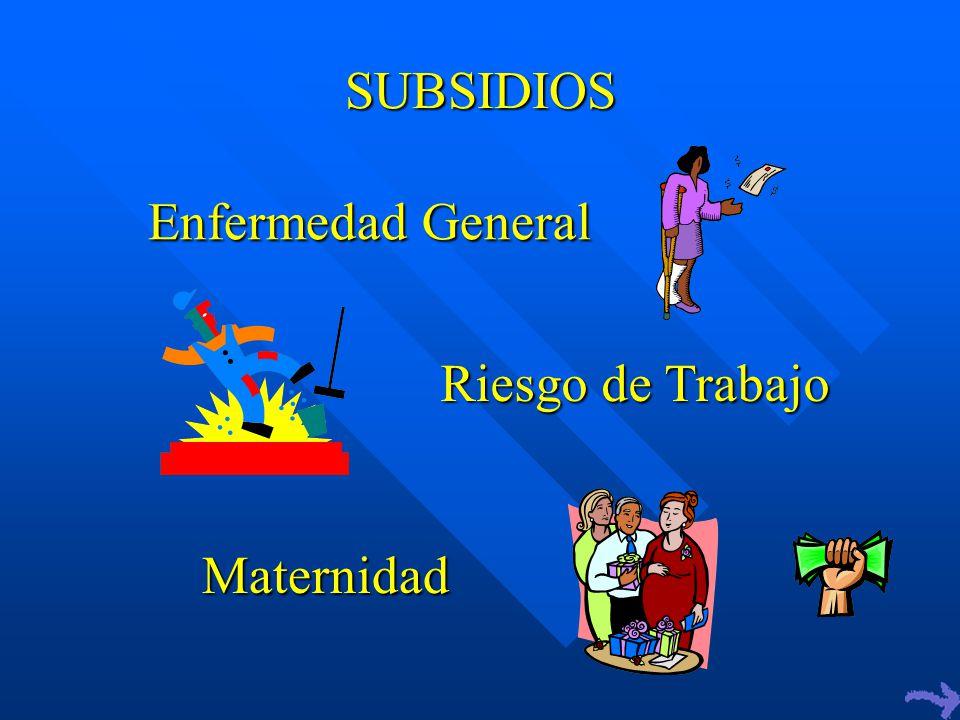 SUBSIDIOS Enfermedad General Riesgo de Trabajo Maternidad