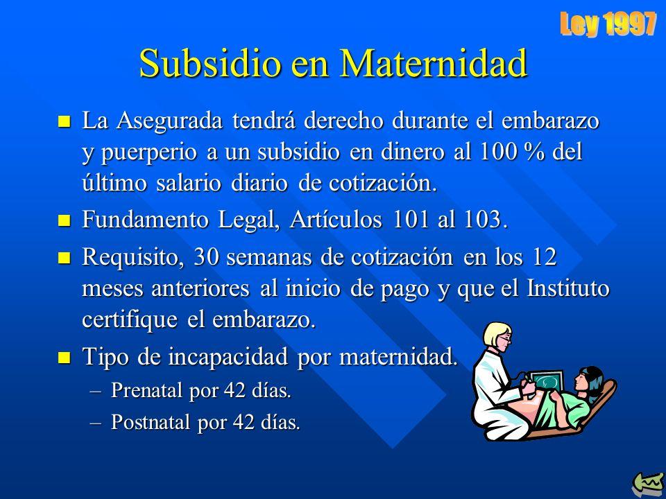 Subsidio en Maternidad