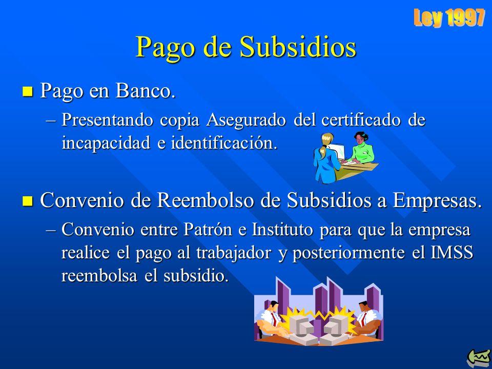 Pago de Subsidios Ley 1997 Pago en Banco.