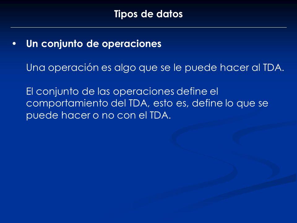 Tipos de datos Un conjunto de operaciones. Una operación es algo que se le puede hacer al TDA.
