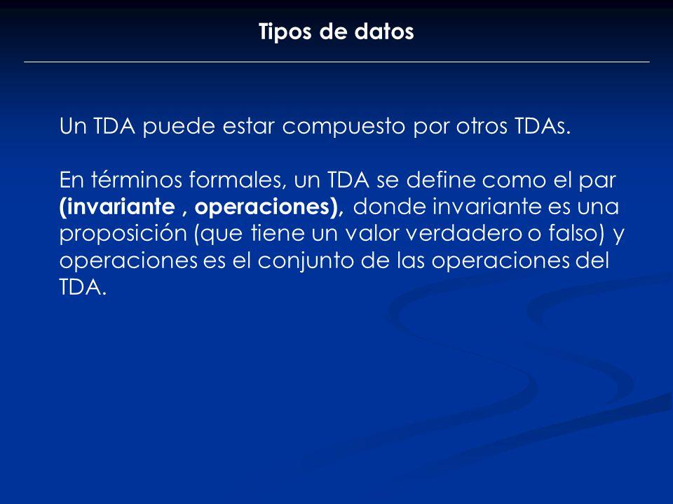 Tipos de datos Un TDA puede estar compuesto por otros TDAs.