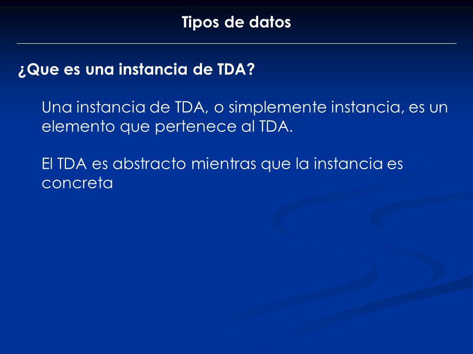 Tipos de datos ¿Que es una instancia de TDA Una instancia de TDA, o simplemente instancia, es un elemento que pertenece al TDA.