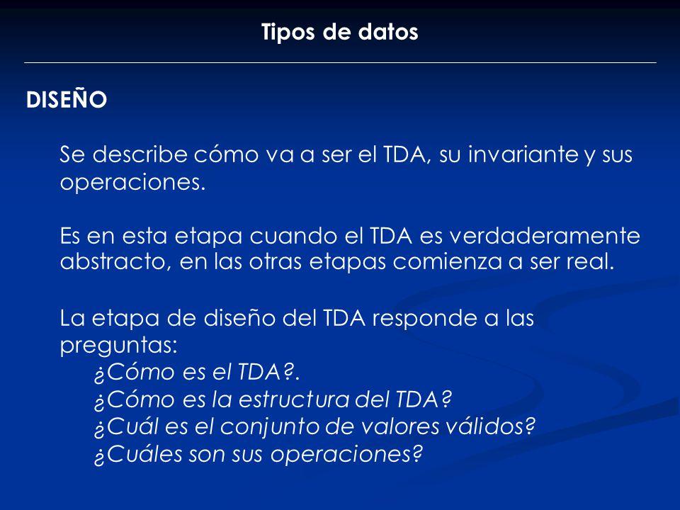 Tipos de datos DISEÑO. Se describe cómo va a ser el TDA, su invariante y sus operaciones.