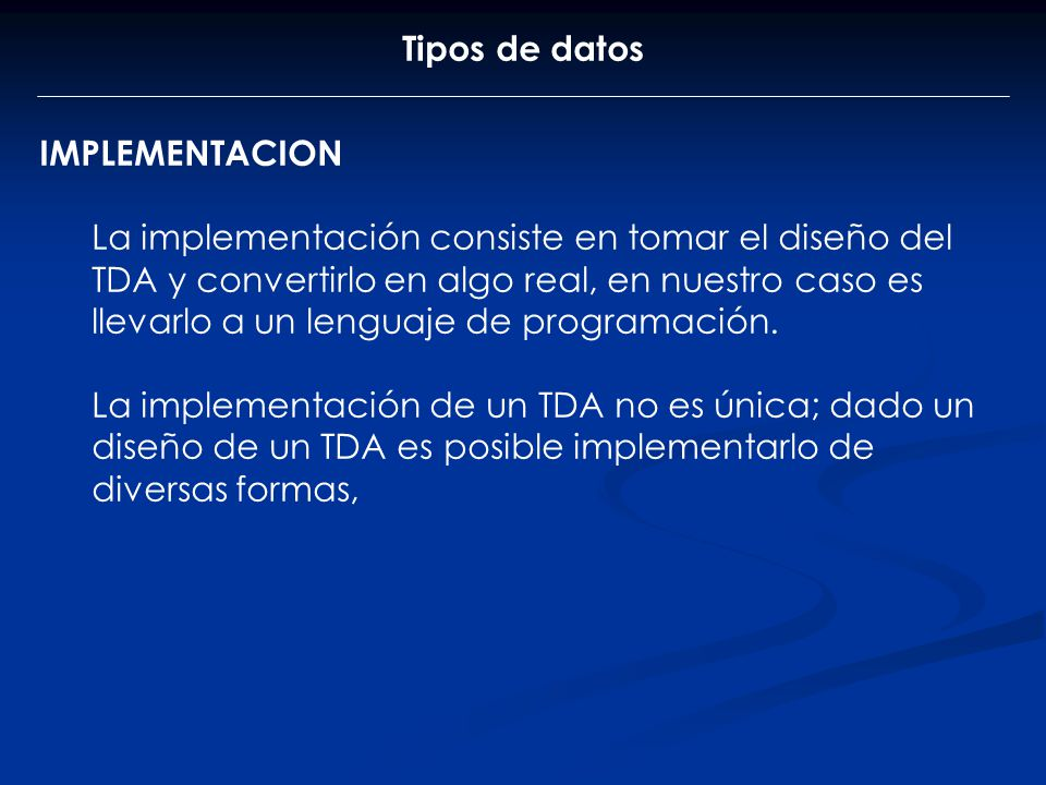 Tipos de datos IMPLEMENTACION.