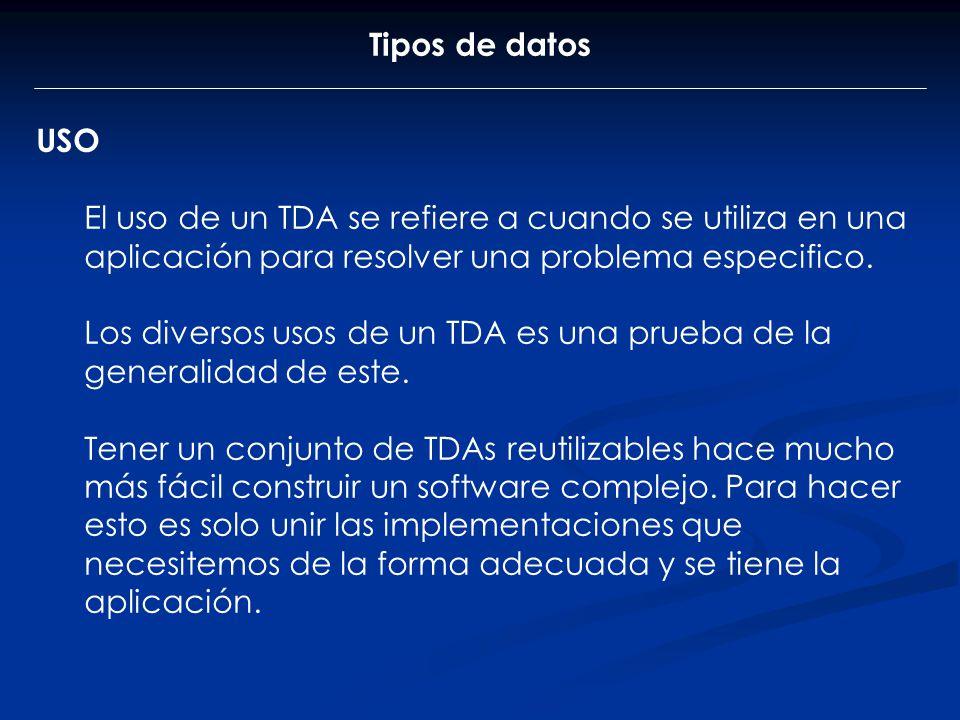 Tipos de datos USO. El uso de un TDA se refiere a cuando se utiliza en una aplicación para resolver una problema especifico.