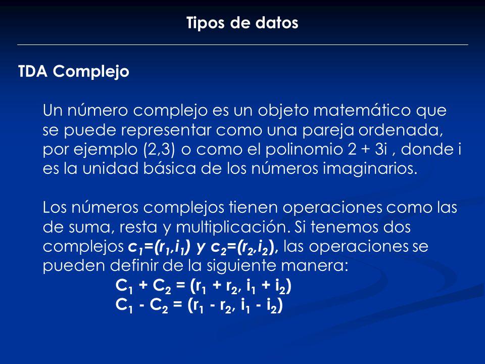 Tipos de datos TDA Complejo.