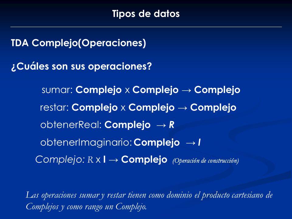 Tipos de datos TDA Complejo(Operaciones) ¿Cuáles son sus operaciones sumar: Complejo x Complejo → Complejo.